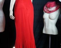 Flash Sale SALE 80s Red Silk Chiffon Prom Dress,  Silk Cache' Mermaid Dress, Red Silk Sophisticated Evening Gown, Designer Red Silk Cocktail