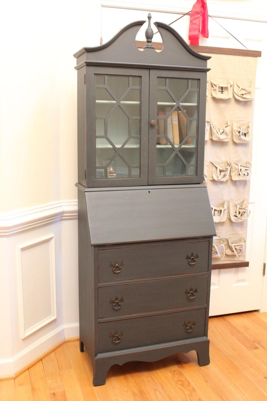 Vintage Secretary Desk With Bookcase Annie Sloan Chalk Paint