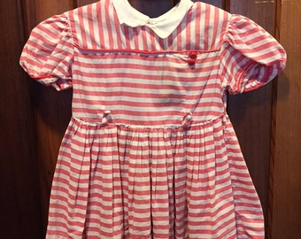 PEACHES & CREAM // Washed Red and White Striped Dress