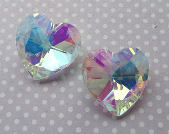 pk of 2 Faceted Clear AB Glass Heart Pendants 28x13mm