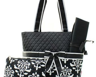 Quilted Bloom Damask 3pc Diaper Bag Set WITH FREE MONOGRAM