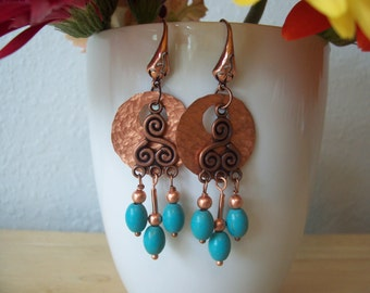 Handmade Hammered Copper and Turquoise Chandelier Earrings