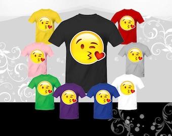 Face Throwing a Kiss Emoji T-shirt (U+1F618)