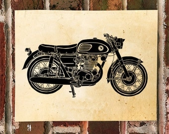 "KillerBeeMoto: Limited Print Japanese Engineered Vintage Cafe Racer ""Black Bomber"" Drawing 1 of 50"