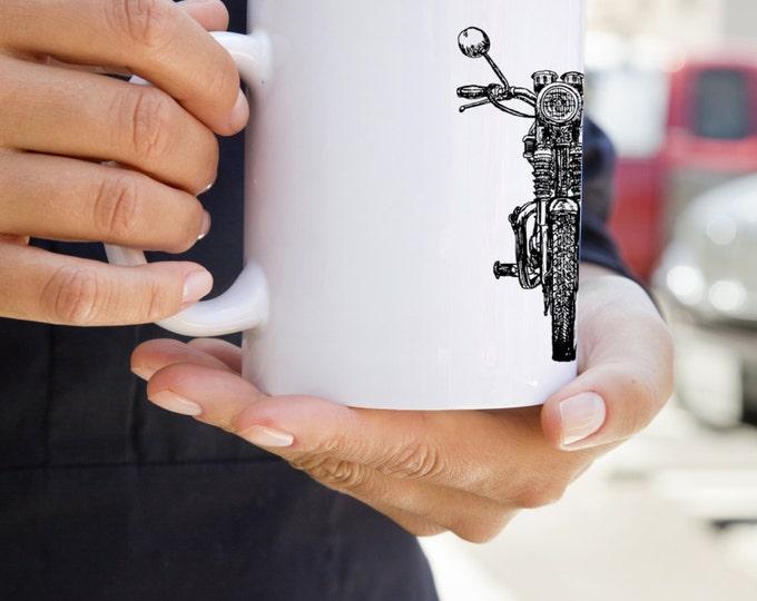 KillerBeeMoto: U.S. Made Hand Drawn British Vintage Motorcycle Graphic On A White Coffee Mug