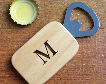 Monogrammed Bottle Opener, Wood Bottle Opener, Groomsmens Gift