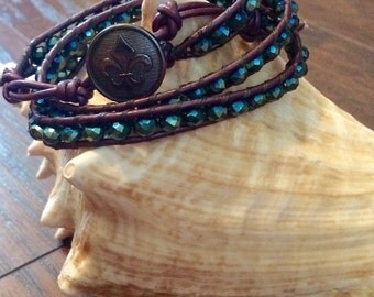 3 Wrap Bracelet- Purple Leather Wrap Bracelet- Mermaid Bracelet