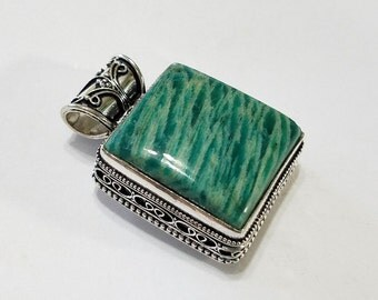 Amazonite, Sterling Silver Overlay, Blue Green, Pendant, Necklace, Focal, Jewelry, Beading, Supply, Supplies