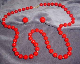 Single Strand Cherry Red Bead Necklace and Earrings
