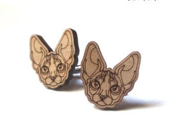Sphynx Cat Cufflinks wood cuff links sphynx shaped wooden accessory