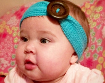 Crochet Ear Warmer Headband with large button