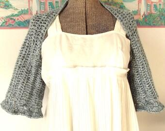 Crochet Shrug, Blue Gray Shrug, Blue Sweater, Soft, Extra Layer, Shoulder Wrap, Handmade Shrug