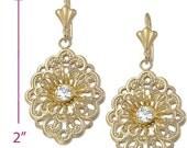 """2"""" Beautiful Flower Filigree Dangle Drop Earring Flower Earrings 14k yellow gold Brass Round White clear CZ Flower Earrings Gift"""