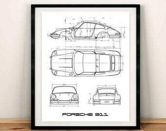 "Porsche 911 Blue Print Poster, Porsche 911, Classic Porsche 911, Porsche Garage Art, Instant Download, Porsche Poster, 8x10"", 11x14"", 18x24"""