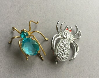 2 Little Vintage Spider Brooches