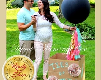 "Black Gender Reveal Balloon / 36"" Confetti Filled Balloon / Island Pink, Mint & Gold Tassel Tail / It's a Boy / It's a Girl"