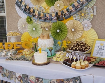 10pc yellow green cream Paper Pinwheel Rosette Party Decoration Set wedding , birthday party ,backdrop background baby shower cake table