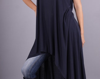 Tunic, Asymmetric loose tunic, Sleeveless long top, Tunic dress by UrbanMood- CO-SISI-VL