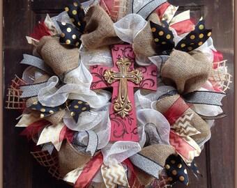 Maroon & Gold Cross Wreath