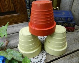 Set of 3 Art Deco Clay Flower Pots