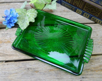 Vintage Avon Green Glass Dresser Tray