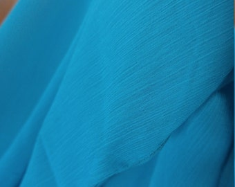 New 3.5 yard Veil Dark Turquoise Aqua Cerulean Blue Crepe Chiffon Belly Dance performance Cabaret Raks Sharqi AmCab