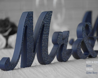 Navy Blue Glitter Mr and Mrs Wedding Signs, Mr & Mrs Wood Wedding Decoration, Glitter, Mr and Mrs Wedding Photo Prop, Glitter Mr and Mrs