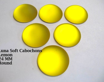 Cabochon, Luna Soft, 24 MM, Lemon, Round, Wire Wrapping, Bead Embroidery, Bright Colors, Neon Color, Glow