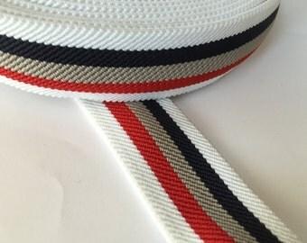3 cm - (1.2 in) striped suspender elastic