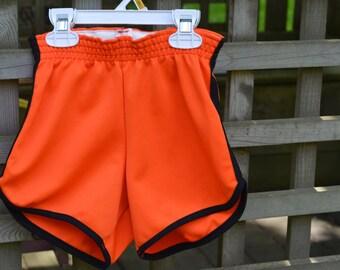 80s Jogging Shorts Kajee XXS Orange and Black Polyester Athletic Shorts P.E. Gym Tigers