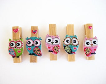 10 Owl Clothespins Bag Clips (Optional Magnets) Embellished with Colorful Owls . For Organizing, Gifts,