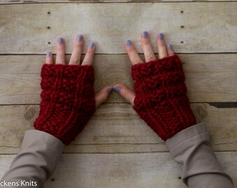 Soft Wool Chunky Knit Fingerless Gloves Hand Warmers Texting Gloves - Red - Ready to Ship