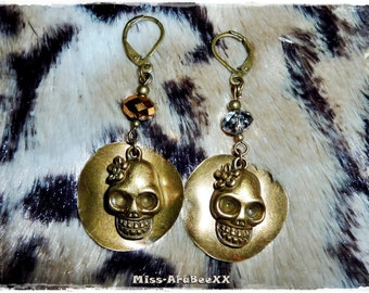 Mexican Sugar Skull Earrings bronze, Skull Jewelry, Dia de los Muertos, Day of the Dead, Mexican Feast of the Dead, Frida Kahlo, MustHave