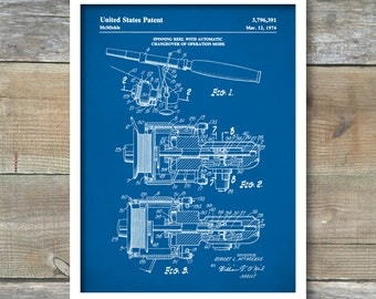 Patent Print, Spinning Reel Poster, Fishing Reel Patent Poster, Fishing Hobby, Home Decor, P335