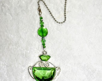 Green Crystal,   Ceiling Fan Pull,   Green Light Pull,    Green Chain Pull,    Silver and Green Crystal Fan Pull, Home Decor,  Crystal Decor