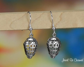 Sterling Silver Hockey Mask Earrings Pierced Fishhook Solid .925