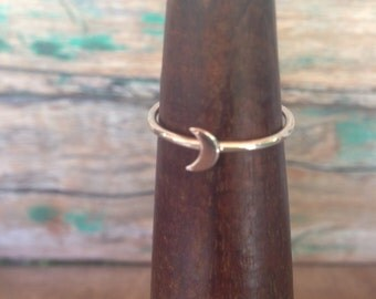 Silver Stacking Crescent Moon Ring