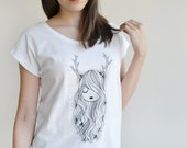 """SALE -20% OFF Woman Tshirt  """"Deer Girl""""  screen printed"""