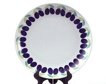 "Rare 12"" Arabia Finland Plum Plate Centerpiece - Kaj Franck - White and Purple"
