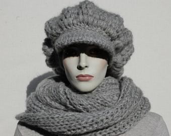 Grey Newsboy Hat Scarf, Women Hat and Scarf Set, Hand Knit Hat, Womens Hats, Winter Wool Crochet Newsboy, Grey Circle Scarf, Slouchy Hat