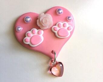 Kawaii Deco Heart Hair Clip or Brooch (kitty paws style 2)