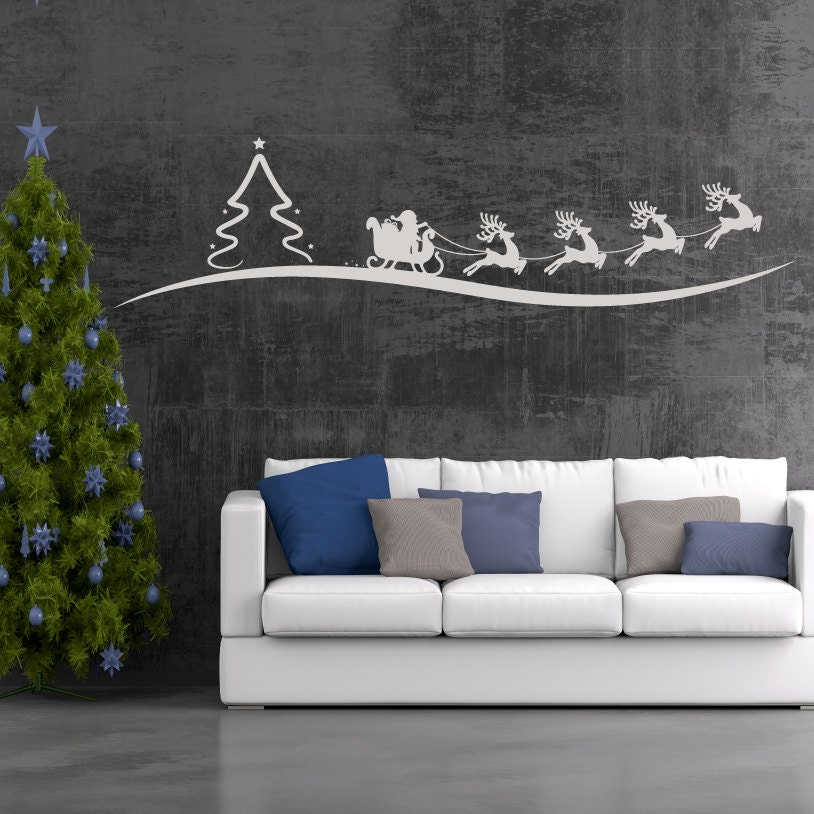 Santa And Reindeer Wall Decor Vinyl Wall Sticker Decal - Custom vinyl wall decals christmas