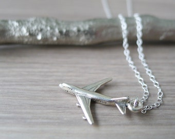 Sterling Silver Airplane Necklace, Pilot Gift, Flight Attendant, Jet Necklace, Airplane Jewelry, Travel Gift, Travel Necklace