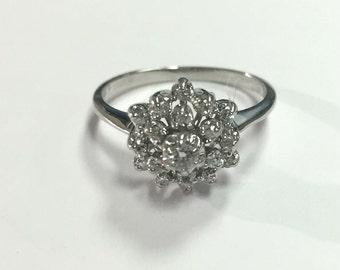 Unique Vintage Ladies Diamond Cluster Ring 14k