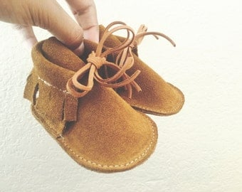 Moccasin Boots in Tan