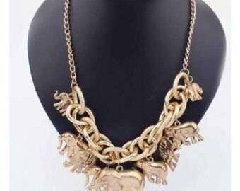 Lucky Gold Elephant Pendant Necklace Personality Vintage Exclusive Jewelry