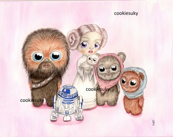 Star Wars's Friends Pop surrealism Illustration Print
