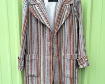1970s Striped Wool Coat