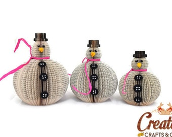 Book Art Snowman Set of 3 Christmas ornament decoration Upcycled handmade Rolly polly