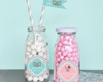 Personalized Baby Shower Favors-Glass Milk Bottles-Unique Baby Shower Favors-Baby Shower Ideas-Party Favor Ideas (set of 24)